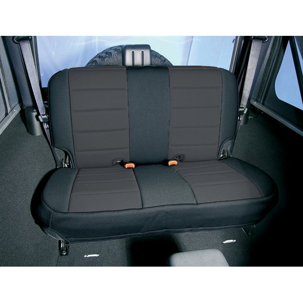 Neoprene Rear Seat Covers, Black; 80-95 Jeep CJ/Wrangler YJ