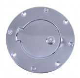 Locking Gas Cap Door, Stainless Steel; 97-06 Jeep Wrangler TJ