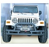 Double Tube Front Winch Bumper with Hoop, 3 Inch; 76-06 Jeep Models