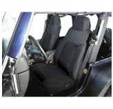 Fabric Front Seat Covers, Black; 91-95 Jeep Wrangler YJ