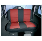 Neoprene Rear Seat Covers, Red; 80-95 Jeep CJ/Wrangler YJ