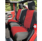 Neoprene Rear Seat Cover, Black/Red; 07-17 Jeep Wrangler JKU