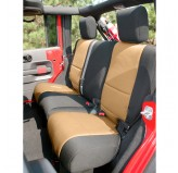 Neoprene Rear Seat Cover, Black and Tan; 07-17 Jeep Wrangler JK