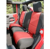 Neoprene Rear Seat Cover, Black/Red; 07-17 Jeep Wrangler JK