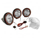 7 Inch Round HID Off Road Light Kit, Black Composite Housing, Set of 3