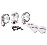 6 Inch Halogen Fog Light Kit, Round Stainless Steel Housings, Set of 3