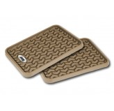 Rear Tan Floor Liner Pair With Jeep Logo Universal Application